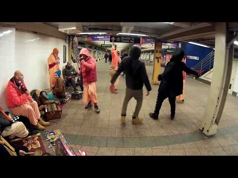 Between Singers Passersby Dance to our Interim Hare Krishna Chant