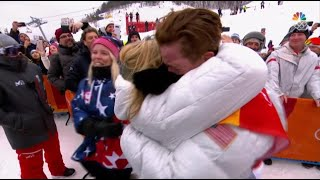 Shaun White tearfully fell into his parents' arms after winning gold medal