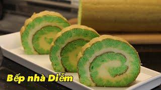 Bánh cuộn lá dứa nhân kem dừa - Pandan Swiss Roll - Cách làm đơn giản thơm ngon | Bếp Nhà Diễm |