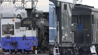 珍編成 C11形SL+14系+ヨ8000形にヨ5000形連携&C11軌陸車移動/Tobu railway's japanese Steam Locomotive runs trial