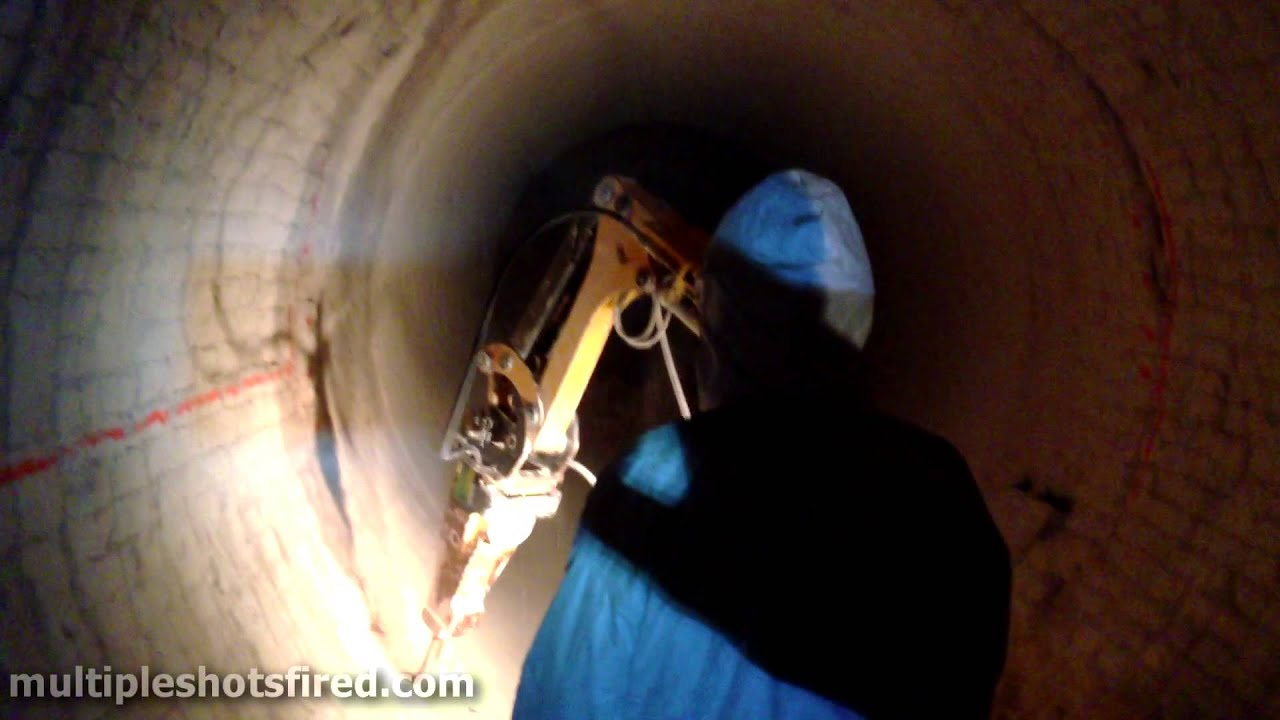 Brick Demo Inside Rotary Kiln Using Brokk Demolition