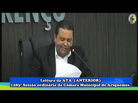 1284ª Sessão Ordinária da Câmara Municipal de Ariquemes 20 01 2020 Abertura dos trabalhos