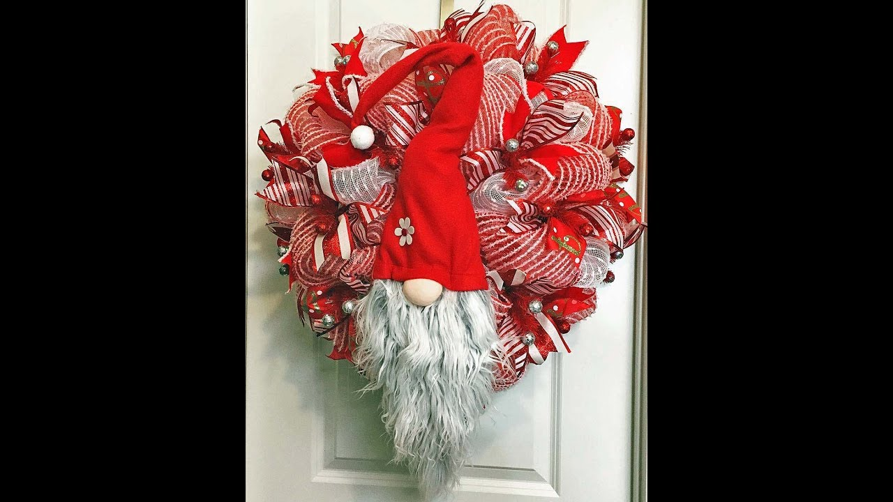 How To Make A Double Pouf Christmas Gnome Wreath With 10in