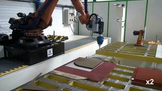Corte de honeycomb de Nomex con robot