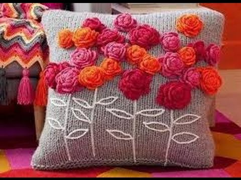 Como hacer cojin de lana decorado con flores hogar tv for Decoracion del hogar con crochet