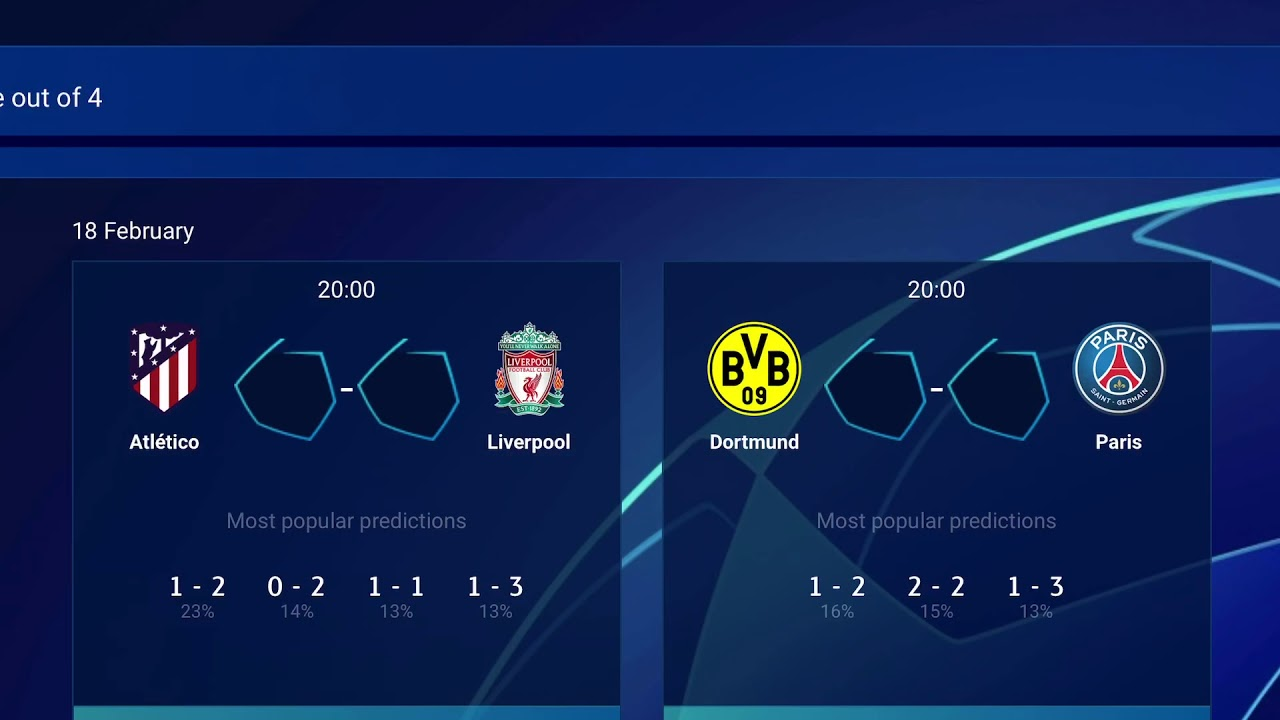 2019/2020 UEFA Champions league Round of 16 knockout stage ...