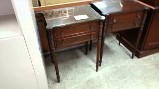 Pair Of Glass Top End Mahogany Tables.