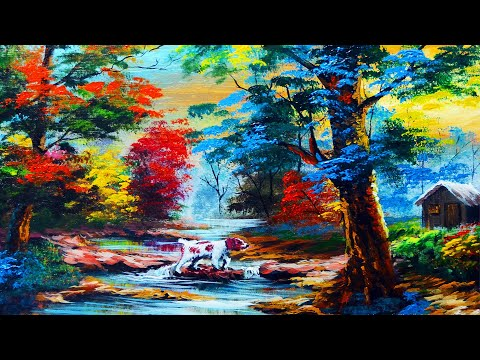 HUNTER DOG in the river landscape with forest PAINTING TUTORIAL | BASIC ACRYLIC ART LESSON BEGINNERS