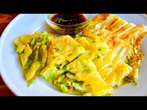 Korean Vegetable Pancake: CRISPY & JUICY Napa Cabbage Pancakes VEGAN Recipe & Mukbang 배추전 (야채전)