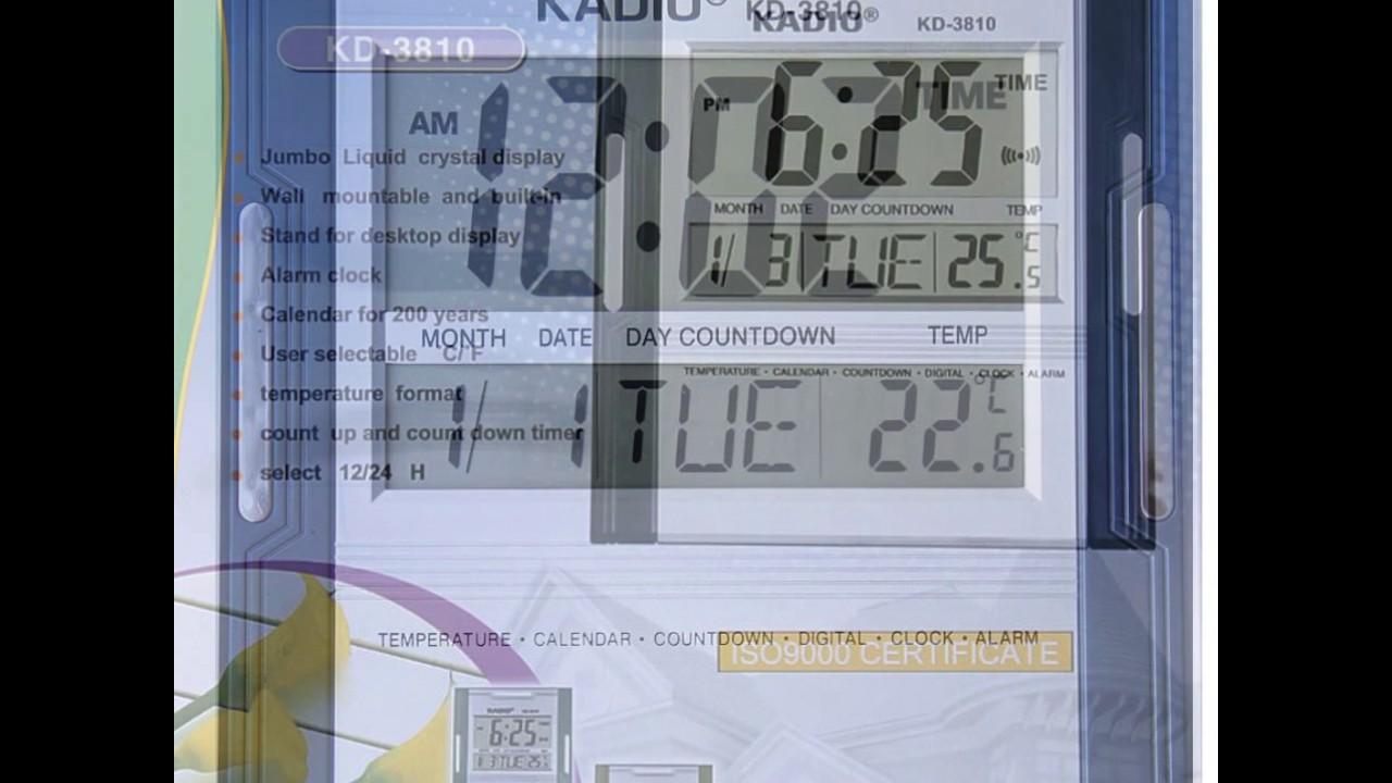 Calidad superior d1b0d d199d Reloj Pared Digital Kadio Termometro Timer Alarma Calendario