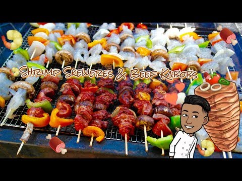 Mouth Watering #ShrimpSkewers & #BeefKabobs on a Sunny Day #OutDoorCooking #Brochette Video Blog#95