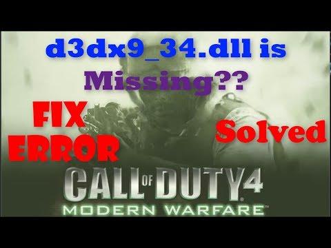 How To Fix D3dx9_34.dll Missing Error 100%   D3dx9_34.dll Is Missing Call Of Duty 4   Dll Error Fix
