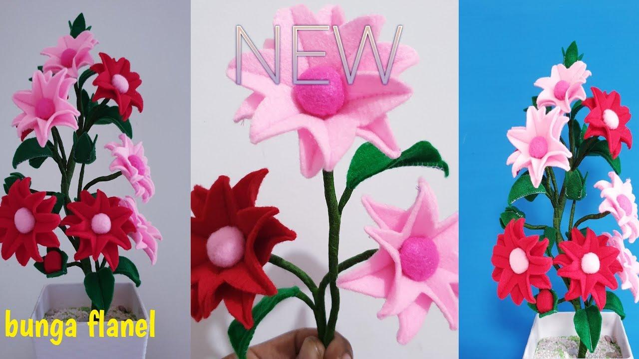 Cara Membuat Bunga Dari Kain Flanel Flower Felt Diy Youtube