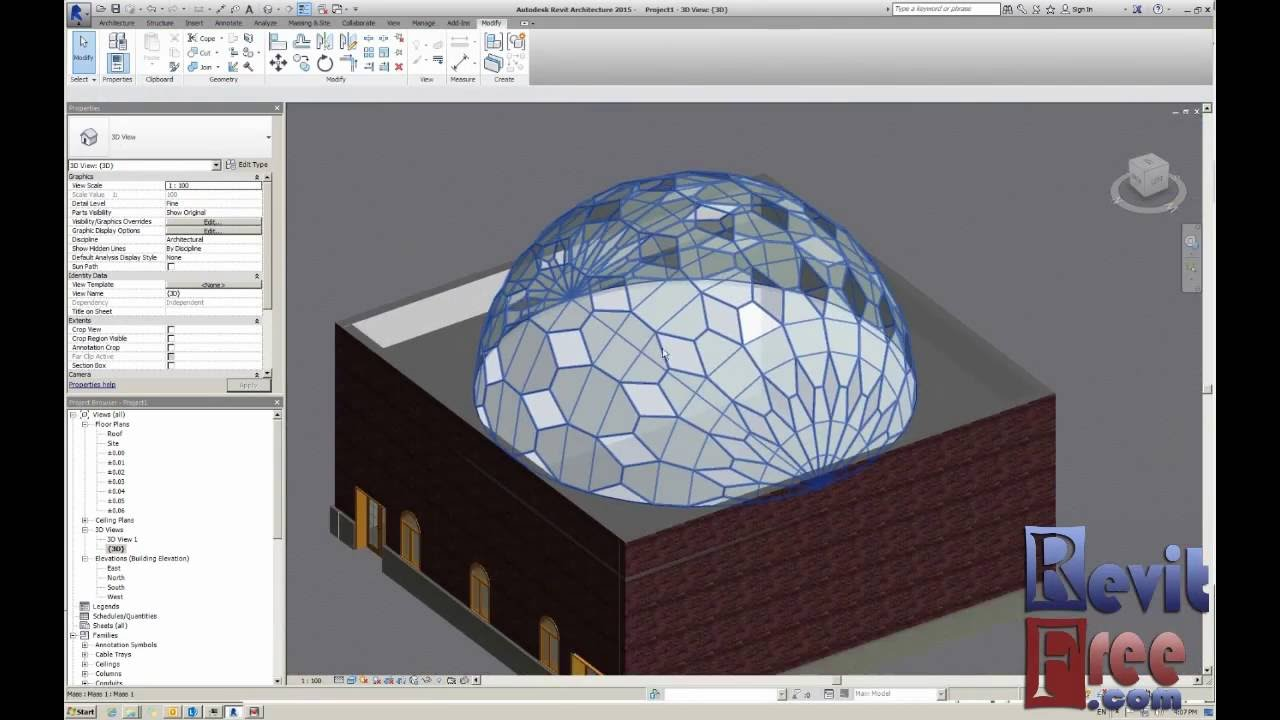 How To Make Dome Curtain Roof And Dome Glass In Revit