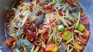 กับข้าวกับปลาโอ 590 : ตำซั่วนรกกุ้งสด เมนูสร่างไข้ แซ่บจัดเต็ม Papaya salad rice noodle & Shimp