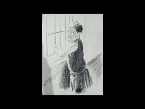 Pencil sketch of a cute small girl thumbnail