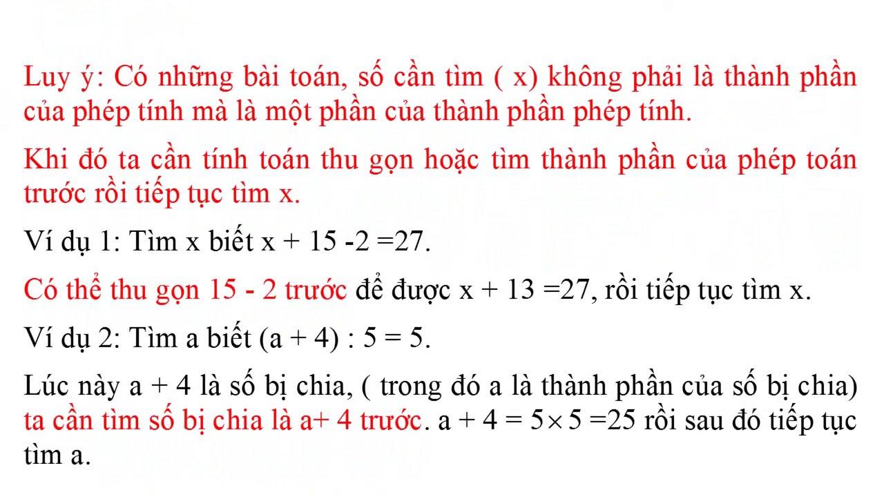 Toán 5. Giải bài toán tìm x