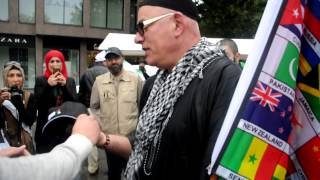 A Dutch man takes shahada at a pro-Palestine demonstration