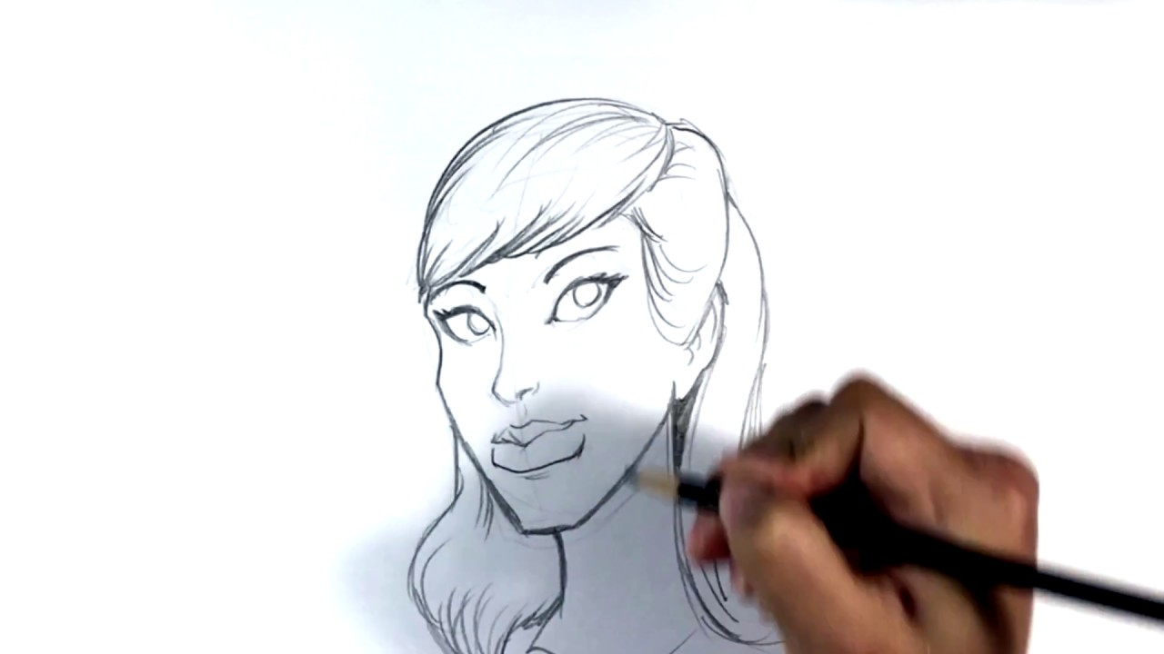 Line Drawing Face Tattoo : How to draw attractive female tattoo art youtube
