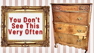 Surprising Vintage Dresser Makeover   You Don't See This Very Often   Trash to Treasure