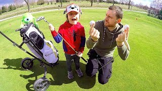 Learn Sports for Children and Toddlers | Tim Plays Golf with Daddy & Mike Wazowski Monsters & Co