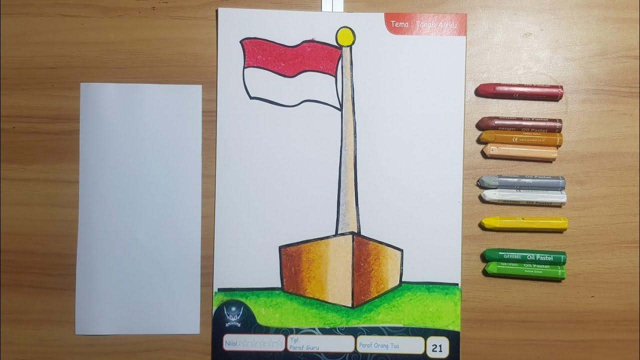 mewarnai bendera untuk anak usia dini contoh gambar