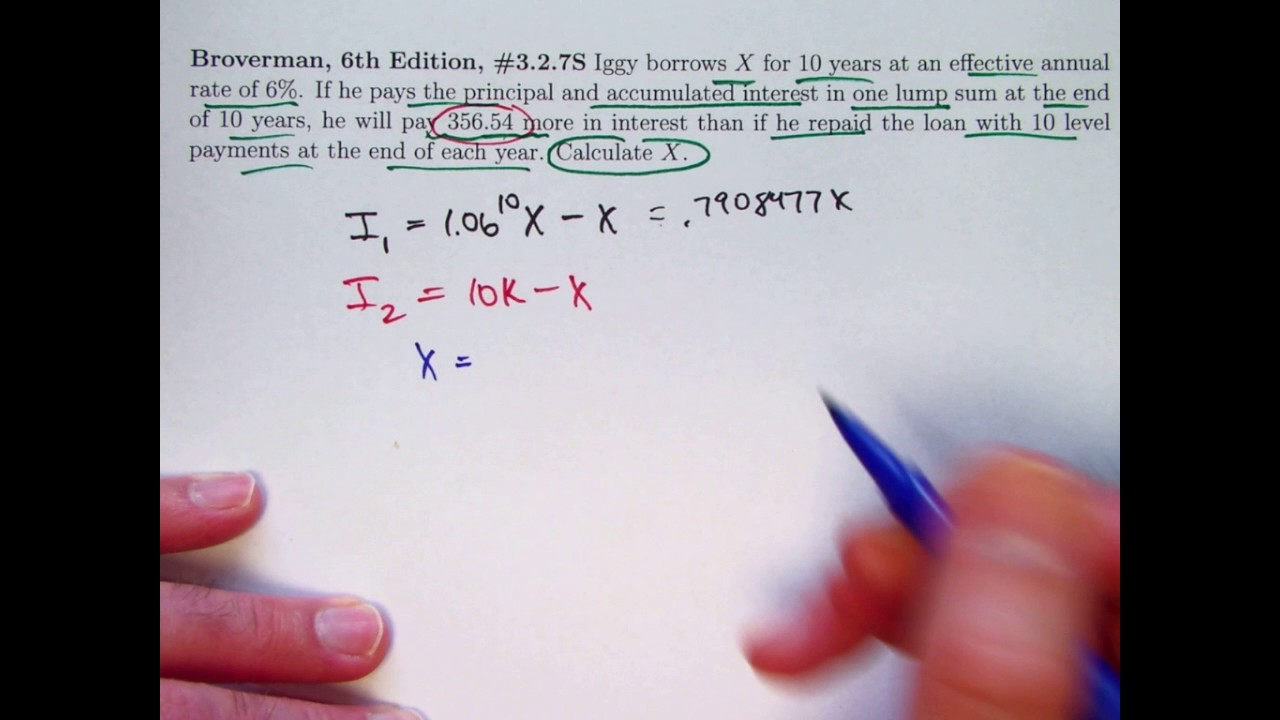 actuarial exam 2  fm prep  find loan amount given interest