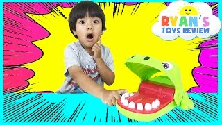 crocodile dentist challenge family fun game for kids disney cars toys eggs surprise tsum tsum