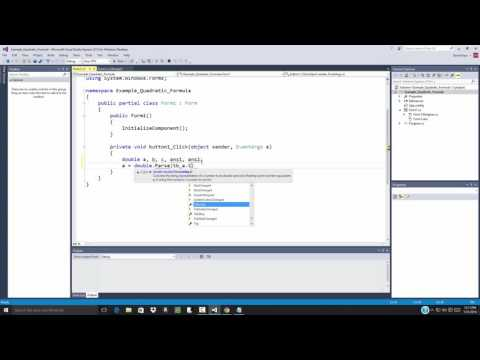 C# Programming - Data and Visual Interface - Quadratic Formula Example