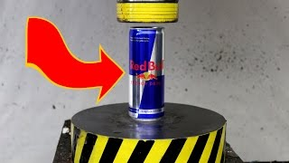 EXPERIMENT HYDRAULIC PRESS 100 TON vs RED BULL