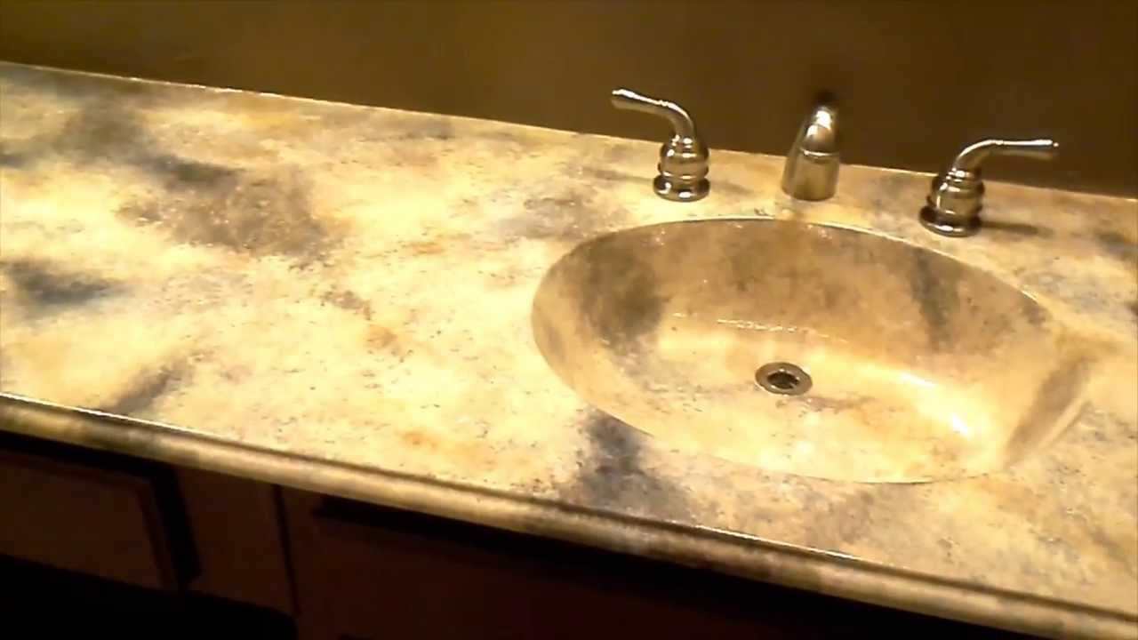 Bathroom Sink Yellow faux marble bathroom countertop - youtube