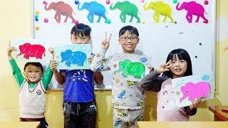 Hunter Kids Go To School Learn Colors Elephant | Classroom Funny Nursery Rhymes