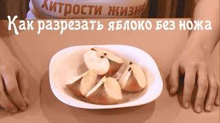 Как разрезать яблоко без ножа / Хитрости жизни(Нужно порезать яблоко, а ножа рядом нет? Если вы до сих пор не научились распиливать взглядом, то вам определ..., 2015-01-15T09:36:40.000Z)