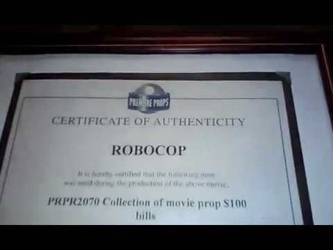 Robocop Movie Money with COA (Certificate Of Authenticity)