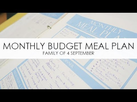 monthly budget meal planning family of 4 september 2017