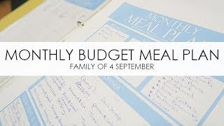 MONTHLY BUDGET MEAL PLANNING - Family Of 4 - September 2017 Australia