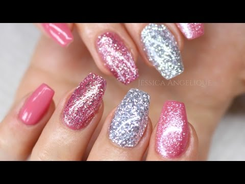 ♡ How to: Pink w Silver Glitter Gelnails