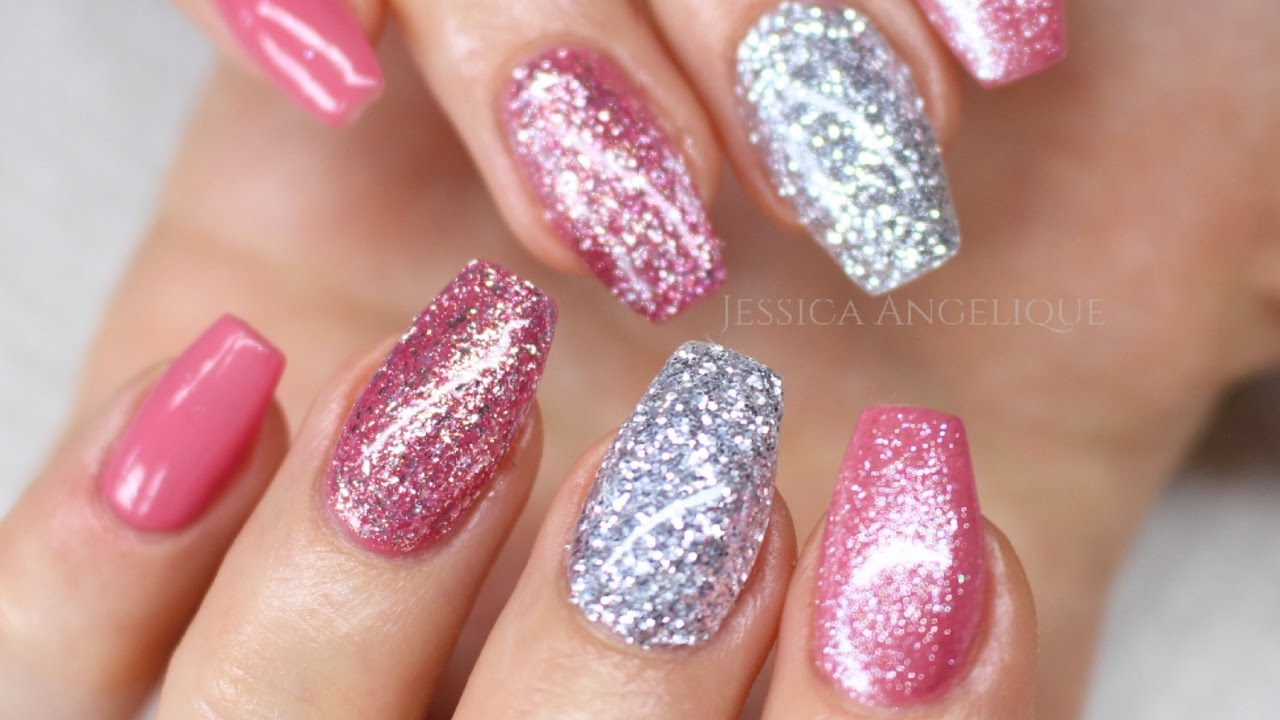 ♡ How to: Pink w Silver Glitter Gelnails - YouTube