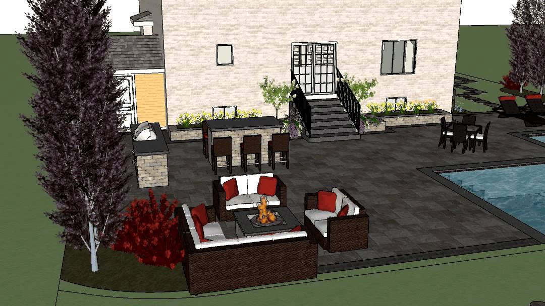Design of Backyard with 'L' shaped pool, outdoor kitchen ... on L Shaped Backyard Ideas id=54926