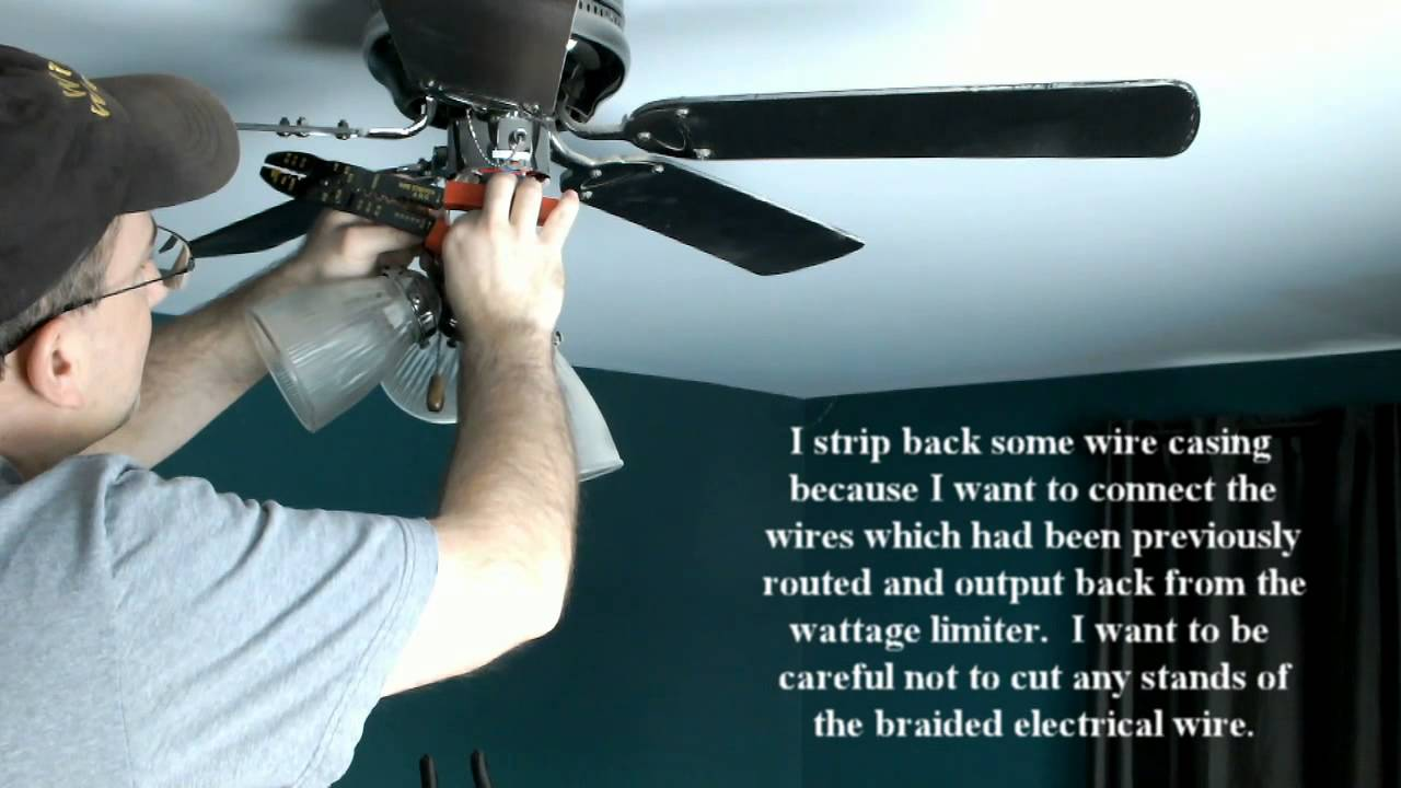 fixing ceiling fan on which lights had been blinking because of defective wattage limiter youtube [ 1280 x 720 Pixel ]