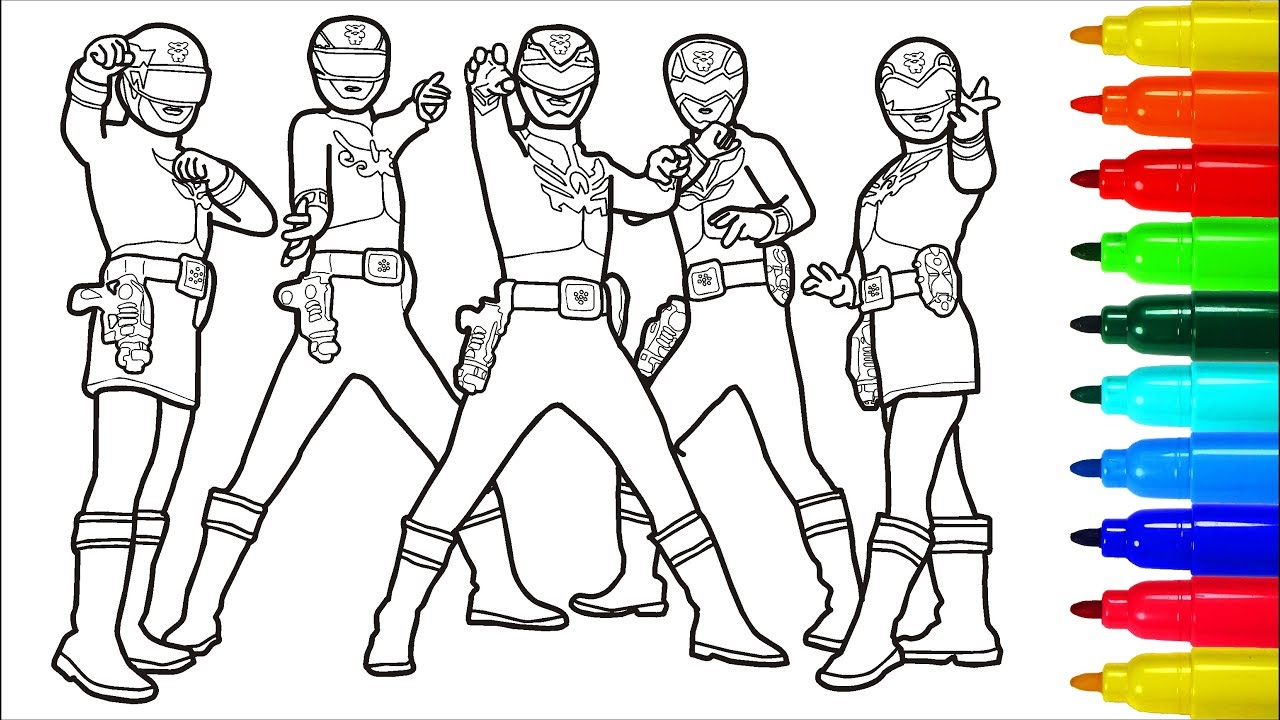 Power rangers megaforce transformers coloring pages colouring pages for kids with colored markers