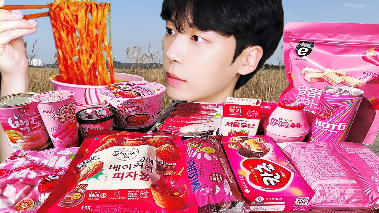 ASMR MUKBANG   편의점 핑크 디저트 먹방 불닭 치킨 딸기맛 초콜릿 & PINK DESSERT JELLY CANDY