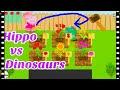 Cartoon game for kids 🌻 HIPPO vs DINOSAURS at the flower garden 🌻 full game