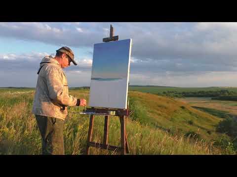 Живопись на пленэре, рассвет маслом. Как рисовать с натуры, художник Ревякин Дмитрий.