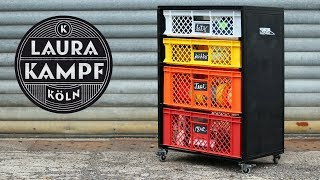 Tool Cart with recycled plastic crates (Workshop Organization)