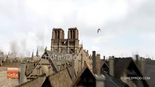 Paris au Moyen Age en 3D à vol d'oiseau - Suivez les hirondelles
