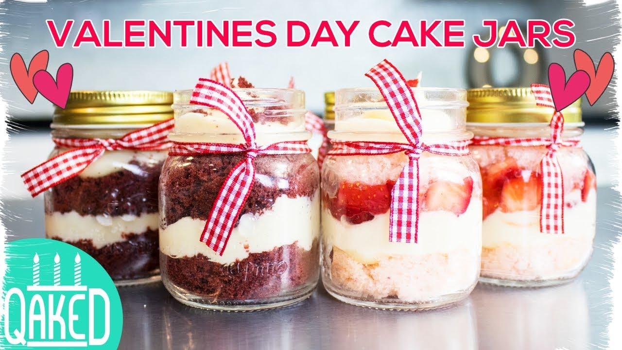 Valentine S Day Cake Jars Red Velvet And Strawberry Shortcake
