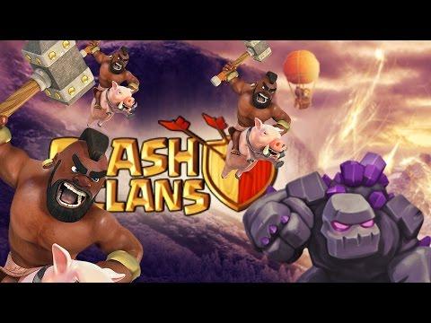 Clash Of Clans | Hog Rider Attack Strategy - 2015 | Golem + Hog = 3 STAR