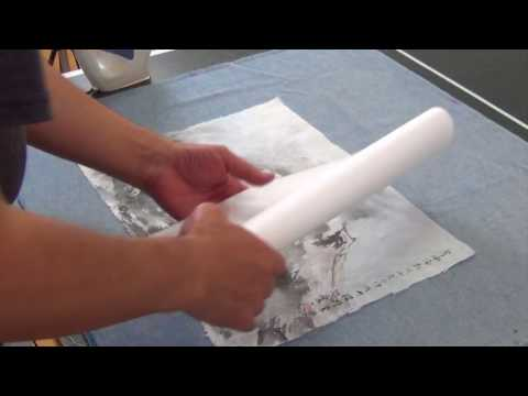how to dry mount a mulberry paper painting with silk brocade